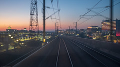 Don't Stop Me Now (sdupimages) Tags: landscape paysage railroad train eurostar uk hs1 tgv sunset light station gare pov perspective speed motion blur flou vitesse
