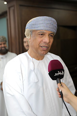 Al Balushi speaking to the media (Qatar Chamber) Tags: qatar oman chamber commerce delegation business