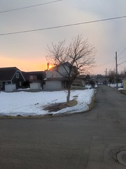 Sunset in the Neighborhood on the Last Day of Winter 1 (sjrankin) Tags: 20march2019 edited kitahiroshima hokkaido hdr sunset weather clouds wind road snow houses neighborhood wires lines
