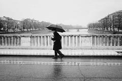 (Roberto Spagnoli) Tags: rain umbrella walk bridge river walking alone biancoenero blackandwhite bw newspaper everydaylife verona italy solitude loneliness