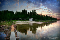 Canoe Point (tfavretto) Tags: algoma beach boardwalk cabin calm camp clouds dock dusk evening reflection sand saultstemarie shed sunset trees water stjosephisland canoepoint hiltonbeach