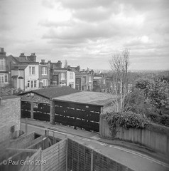 London from Muswell Hill (global griff) Tags: 120film architecture bwfilm england holga negscans tmax400 london analogphotography
