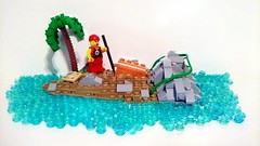 A Pirate's Life (LegoHobbitFan) Tags: lego moc build model creation pirate island treasure palm tree water beach sand rocks chest