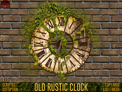 Old Rustic Clock - REDSUN (cuuka) Tags: sl second life secondlife red sun redsun cuuka kushino clock wall moss old rustic wood green brown white mesh modelised liana leaves scripted