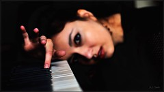 Lena: Melancholy (Images by A.J.) Tags: model editorial portrait bokeh dof woman female women piano keyboard ivory keys sad retrato melancholy moody sadness dark blue