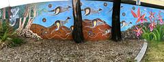 Koala, Kangaroos & Phaius australis - Lesser Swamp Orchid, Southern Swamp Orchid - Ages of the Tweed Mural, Commercial Rd, Murwillumbah, NSW (Black Diamond Images) Tags: agesofthetweedmural jurassic jurassicperiod megafauna earthlearning mural art painting floodmitigationwall commercialrd murwillumbah nsw murwillumbahartstrail appleiphone7plus iphone7plusbackdualcamera iphone7plus phone7plus iphone appleiphonepanorama panorama iphonepanorama appleiphone7pluspanorama koala kangaroos phaiusaustralis lesserswamporchid southernswamporchid phaius orchidaceae commercialroad