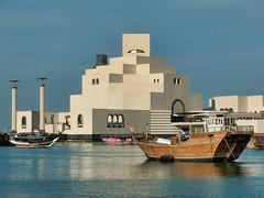 Museum of Islamic Art - Doha, Qatar (fisherbray) Tags: fisherbray qatar stateofqatar دولةقطر dawlatqatar addawhah addawha addōḥa doha الدوحة google pixel2 museumofislamicart متحفالفنالإسلامي museum mia dohabay persiangulf arabiangulf water wasser dhow boat corniche