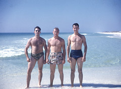 Beach Muscle (jericl cat) Tags: beach slide photo photograph ocean swimsuit men mens tan shirtless muscle muscleman gay shorts chest pecs vintage man furry hairy military hawaiian blue sea
