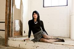 Black bodysuit and skirt 3 (Hannah McKnight) Tags: tgirl transgender transgirl model crossdress crossdresser stilettos bodysuit pleatedskirt stockings