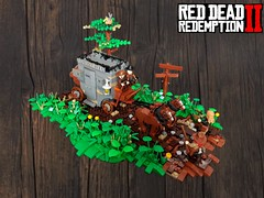 Red Dead Redemption 2 - The armored banking coach robbery (KevFett2011) Tags: kevfett2011 lego red dead redemption 2 ii rockstar games landscape stagecoach armored robbery micah arthur morgan green bricks parts building plants leaves tree edit 2019 moc afol collab western