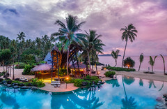 Floating over Fiji (Trey Ratcliff) Tags: treyratcliff stuckincustoms stuckincustomscom fiji pool trees palm bar drink sea ocean blue sunset dji quadcopter mavic 2 zoom panorama drone hdr hdrtutorial hdrphotography hdrphoto aurorahdr