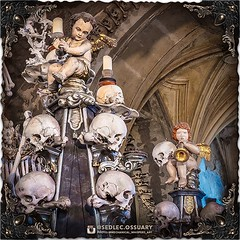 Santini adorned the columns with decorative, carved, wooden and metallic elements to contrast the rich tones of the marble. There are detailed baroque-styled candleholders, each holding a skull & bones, that rise up along the whole column height. Instead (Sedlec Ossuary Project) Tags: sedlecossuaryproject sedlec ossuary project sedlecossuary kostnice kutnahora kutna hora prague czechrepublic czech republic czechia churchofbones church bones skeleton skulls humanbones human mementomori memento mori creepy travel macabre death dark historical architecture historicpreservation historic preservation landmark explore unusual mechanicalwhispers mechanical whispers instagram ifttt