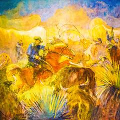Battle of the Bulls (Thomas Hawk) Tags: america battleofthebulls minervakohlheppteichert minervateichert museum slc saltlakecity ufma usa unitedstates unitedstatesofamerica universityofutah utah utahmuseumoffinearts bull cowboy horse painting us fav10
