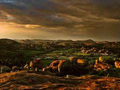 Parting... (Lopamudra !) Tags: lopamudra lopamudrabarman lopa landscape hampi sunshine sunlight sunset sundown karnataka india twilight colour color colours colourful cold clouds cloud sky skyscape rock boulder hill hills nightfall evening dusk afternoon day dramatic poetic ancient beauty beautiful picturesque