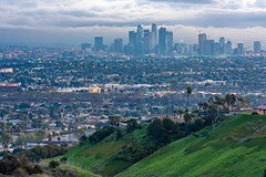 Downtown Los Angeles from Kenneth Hahn State Recreation Area (SCSQ4) Tags: california cityscape cloudy donutstreetmeet downtownlosangeles favorite favoritepicture gloomy greenhill hdr hdrpicture kennethhahnstaterecreationarea losangeles moody morning twilight landscape