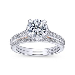 Slim Engagement Ring Crafted From 14k White Gold And Accented With Petite Round Diamonds Hiding in 14k Rose Gold (diamondanddesign) Tags: slimengagementringcraftedfrom14kwhitegoldandaccentedwithpetiterounddiamondshidingin14krosegold er13824r4t44jj bridal rd engagement rings gbbr 65 067 ct gabriel ny diamond 14k white gold rose bottom