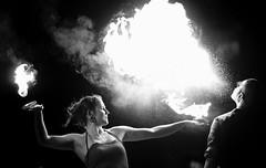 sc2017-9337-bw (skippyclese) Tags: sparkcon spark con circus convention fire show street fair breathing night dark dusk flame burn bright spit bw blackwhite black white monocolor outdoors ouside nc north carolina raleigh nikon d810 tamron 70200