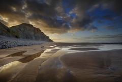 """ CLICHE "" (Wiffsmiff23) Tags: heritagecoastlinesouthwales southwales traethmawr glamorganheritagecoastline reflection beach gold"