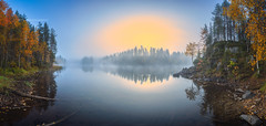 Autumn sunrise (M.T.L Photography) Tags: riverkitkajoki juuma kuusamo mtlphotography mikkoleinonencom nikond810 water fog mist morning sunrise trees forest autumn grass green orange rocks