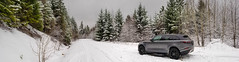 In the backcountry with snow on a forestry road (eacmich) Tags: snow mountain forest road forestry pano winter panorama rangerover velar grey suv offroad backcountry cold peaceful serene mobile note8 android samsung bostonbar britishcolumbia canada utilitarian white green trees quiet nature seasons