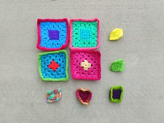 My progress on the new nine patch of crochet remnants (crochetbug13) Tags: crochet crocheted crocheting crochetremnants crochetsquares grannysquares crochetblanket crochetafghan