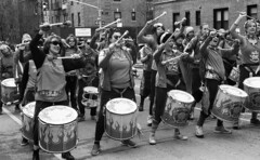 Fogo Azul at the Sunnyside/Woodside St. Pat's For All Parade (neilsonabeel) Tags: nikonn90s nikon nikkor film analogue blackandwhite queens newyorkcity fogoazul parade stpatsforall