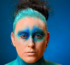 Shimmering Blues. (pstone646) Tags: youngwoman younglady portrait pretty people woman makeup blues blue shimmer closeup eyes glitter