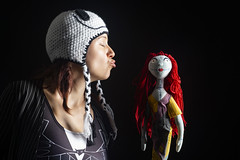 Day 4364 (evaxebra) Tags: 365days blackmilk wh wah sally jack nightmare christmas before black background kiss ginger doll hat