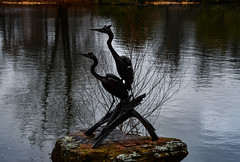 Cold and dripping silhouettes (Pejasar) Tags: cranes cold water pond reflection trees dripping rock gilcreasemuseumgrounds tulsa oklahoma sculpture metal silhouettes two