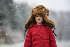 They say we might get some more snow tonight (Elizabeth Sallee Bauer) Tags: 6yearold nature active brownhair child childhood children cold coldweather family fresh fun girl happiness hat kid outdoors outside playing red snow snowfall snowflakes snowing storm white winter youth