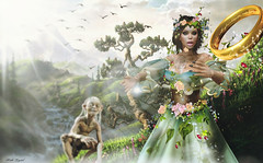 Arwen (Pinki Crystal) Tags: fantasy arwen movie enchantment spring flowers gown medieval roleplay irrisistible shop clothes dress mesh outfit costume headpiece secret garden maitreya belleza slink hourglass fancy necklace