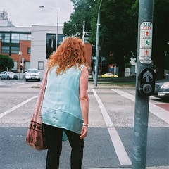 Smith and Victoria, 2018 (buzzkimball) Tags: australia kodak film melbourne melbournephotographer yashicamat124 portra400 street redheads women