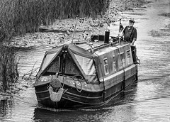 Canal boatman. (James-Burke) Tags: man candid merseyside street shipping longboat sailing boat melling maghull canals leedsliverpoolcanal