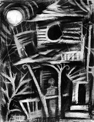 Fragments of a Shattered Memory: Part 3 (Skyler Brown Art) Tags: abandoned angst architecture art artwork bw blackwhite blackandwhite charcoal creepy dark darkness depressing drawing germanexpressionism girl gothic greyscale haunted house intense longing love macabre moon nature ominous paper people sad scary shadow shadows