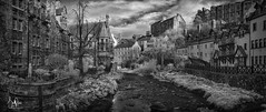 Dean Village (Scotty Rae) Tags: edinburgh infrared ir bw monochrome blackwhite deanvillage old river riverofleith water town city village valley scotland midlothian