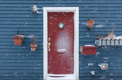 Victoria Snow Days 4 (josullivan.59) Tags: 2019 artistic bc britishcolumbia canada february vancouverisland victoria architecture blue day detail geometric harbour minimalism outdoor outside overcast red snow wallpaper white winter door weather texture s