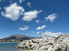 Cloud Puffs! ('cosmicgirl1960' NEW CANON CAMERA) Tags: blue sea sky clouds white marbella spain espana andalusia puertobanus costadelsol travel holidays beach seaside yabbadabbadoo