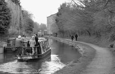 DayTripper (Tony Tooth) Tags: nikon d7100 sigma 70mm bw blackandwhite monochrome boat canal waterway narrowboat people macclesfieldcanal bollington cheshire
