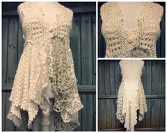 Crochet Lace Duster, Boho Chic Duster, Hippie Style Clothing, Hippie Vest, Crochet Boho Vest, Shabby Chic Clothing, Festival Clothing by PrimitiveFringe (Primitive Fringe) Tags: upcycled clothing boho shabby chic handmade etsy mori girl