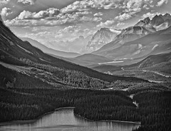 Untitled (RogelSM) Tags: bw outdoor canadianrockies banff icefieldsparkway sky mountain lake forest landscape nature