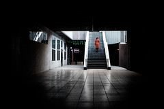 (fernando_gm) Tags: 35mm fujifilm madrid street xt1 spain shadow sombras calle callejera city colour color ciudad woman mujer people person persona light red rojo azca stairs escaleras