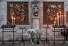 Candles (Ruth Flickr) Tags: brenne europe fontgombault france abbey candles flowers hanging holiday orchids statue summer