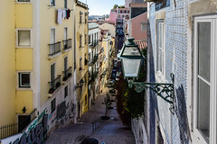 Lisbon, Portugal (Marian Pollock) Tags: lisbon portugal building street light tiles balconies stairs hilly fromabove cityscape europe washing graffiti perspective