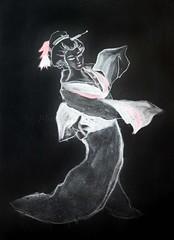 Chalkboard Kimono Lady (l plater) Tags: mushirojapaneserestaurant balmain sydney kimono