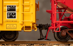 20190111_0468_7D2-100 Model Railroad - HO scale (011/365) (johnstewartnz) Tags: canon canonapsc apsc eos 7dmarkii 7d2 7d canon7dmarkii canoneos7dmkii canoneos7dmarkii 100canon 100mm 100mmf28lmacro 100mmmacro ho hoscale coupler couplers freightcars 187th 187thscale macro macromonday macromondays onephotoaday oneaday onephotoaday2019 365project project365 color colour colorful colourful redandyellow yellowandred tripod 011365 day011