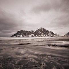 Soft sands at Skagsanden beach (Rudi Verspoor) Tags: skagsanden beach lofoten norway clouds longexposure mountain mountainscape travel europe cold february snow water stream winter wideangle landscape seascape sand soft textures texture