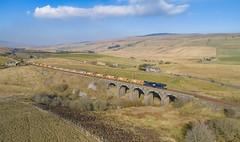 66303 on Lunds Viaduct (robmcrorie) Tags: 6k05 departmental carlisle crewe 66303 lends viaduct settle wild boar fell phantom 4 1z10