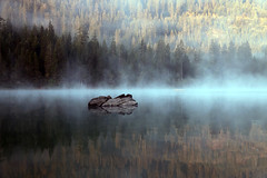 Caumasee (Marcel Cavelti) Tags: img6288bearb caumasee fog lake alps swiss switzerland grisons flims forest rock mirror reflection