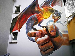 Bad Vilbel 2019.04.06. Mural 1.5 - Artist Andreas von Chrzanowsky aka CASE MA'CLAIM, Germany, 2019 - Friedberger Str. 24 (Rainer Pidun) Tags: mural streetart urbanart publicart badvilbel