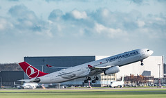 Turkish Airways - Heat Haze and Condensation (Aleem Yousaf) Tags: plane spotting operations takeoff heat haze condensation wing tips nikon d810 200500mm airways turkish airbus a330 airport schiphol amsterdam netherlands nederlands holland noord viewing terrace panorama